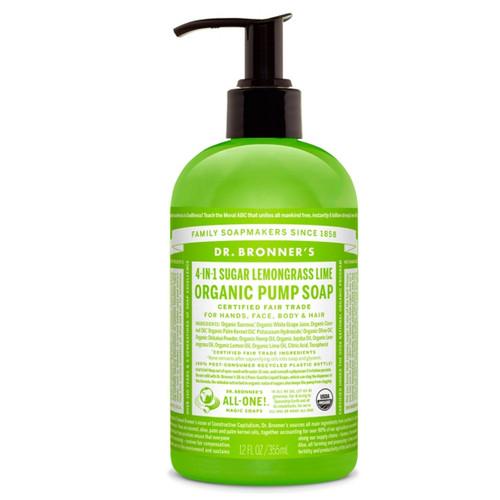 Dr Bronner's 4-in-1 Lemongrass-Lime Organic Pump Soap - 355ml