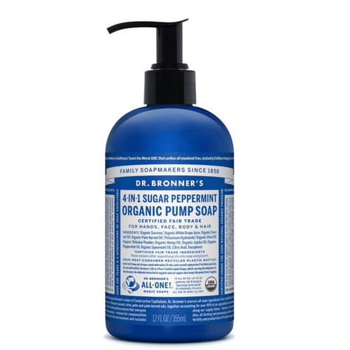 Dr Bronner's 4-in-1 Peppermint Organic Pump Soap - 355ml