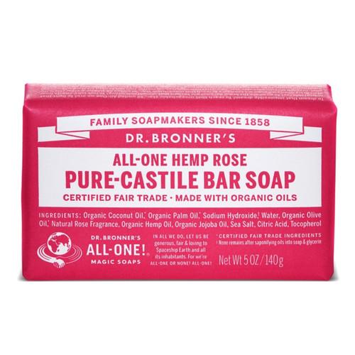 Dr Bronner's Rose Organic Soap Bar - 140g