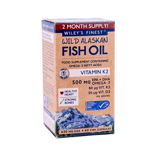 Wiley's Finest Wild Alaskan Fish Oil with Vitamin K2 - 60 capsules