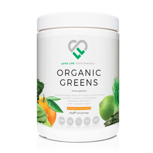 Love Life Supplements Organic Greens (Orange & Lime) - 405g