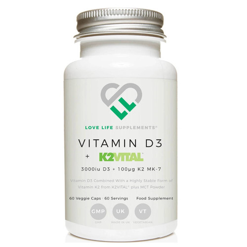 Love Life Supplements Vitamin D3 + K2 (K2VITAL) - 60 capsules