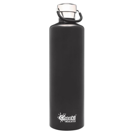 Cheeki Insulated Wall Water Bottle (Matte Black) - 1 litre