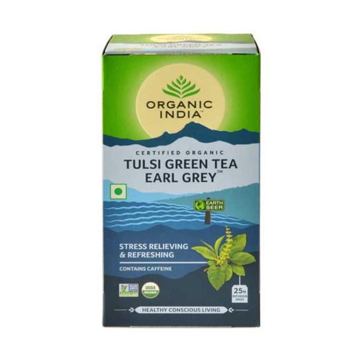 Organic India Tulsi Green Earl Grey Tea - 25 Teabags