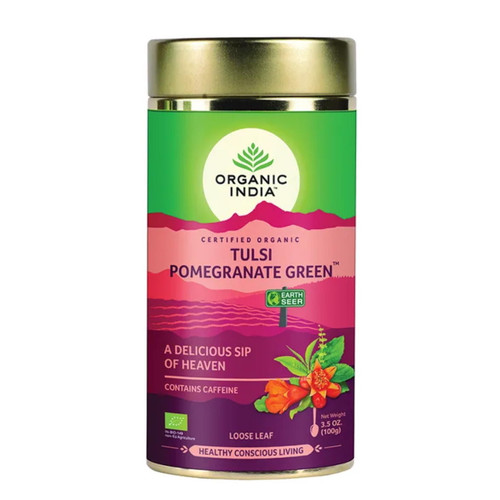 Organic India Tulsi Pomegranate Green Loose Tea - 100g