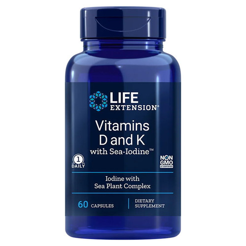 Life Extension Vitamins D and K with sea-iodine - 60 capsules