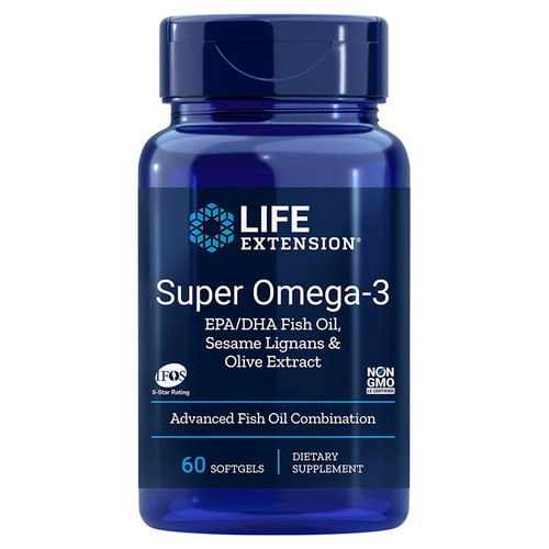 Life Extension Super Omega-3 EPA/DHA with Sesame Lignans & Olive Extract - 60 softgels