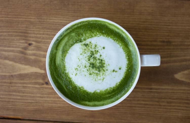 Matcha green tea and almond latte