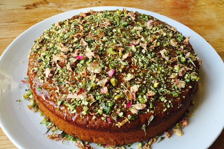 Vegan pistachio and rose cake