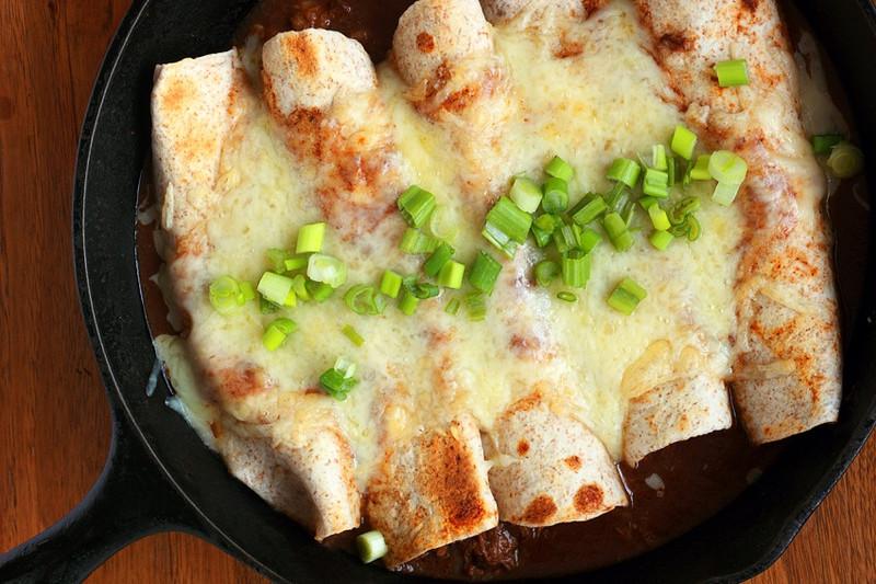 Simple supper - Bean enchiladas