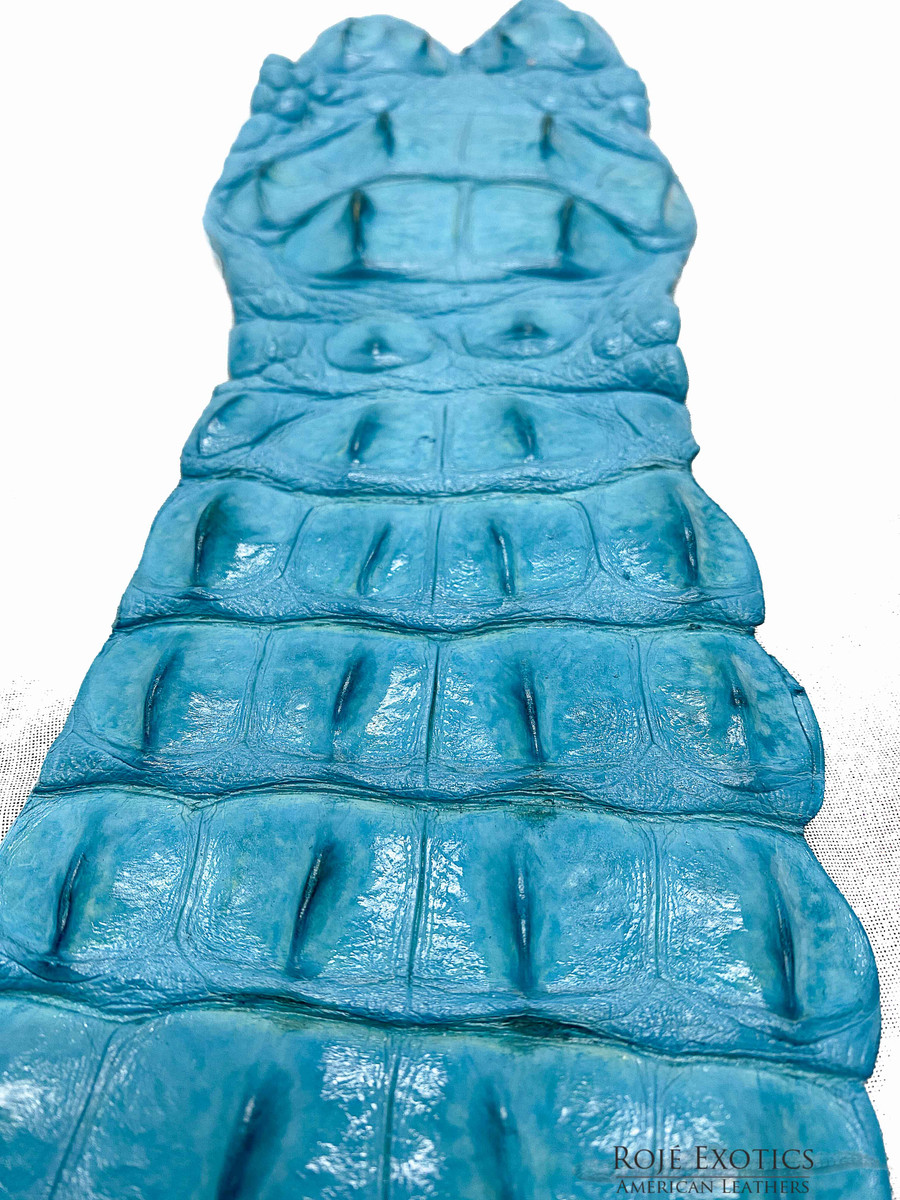 Nile Crocodile Backstrap - Crystal Blue
