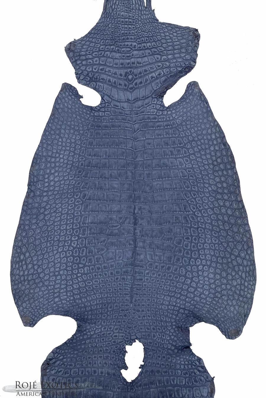 "American Alligator - Belly -  ""Suede"" - Denim Blue"