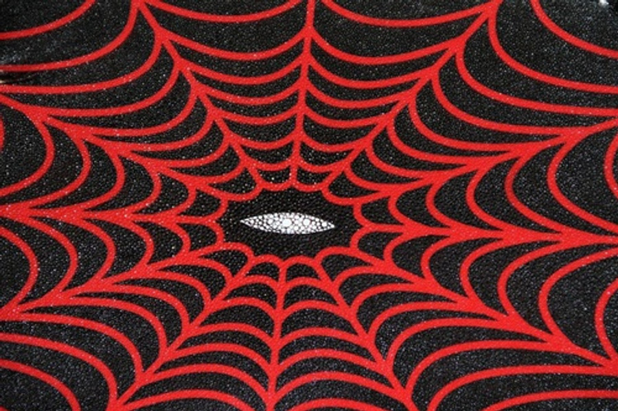 Genuine Stingray Skin - Solid Prints Finish in Black with Red Spider Web