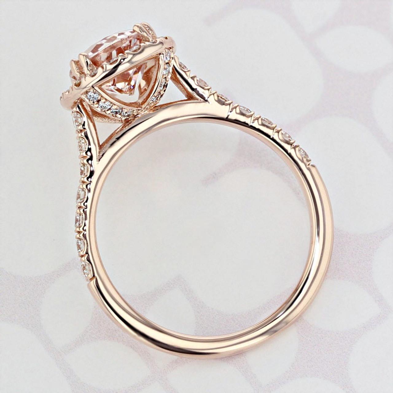 Halo Pear Shape Morganite Engagement Ring 2006054