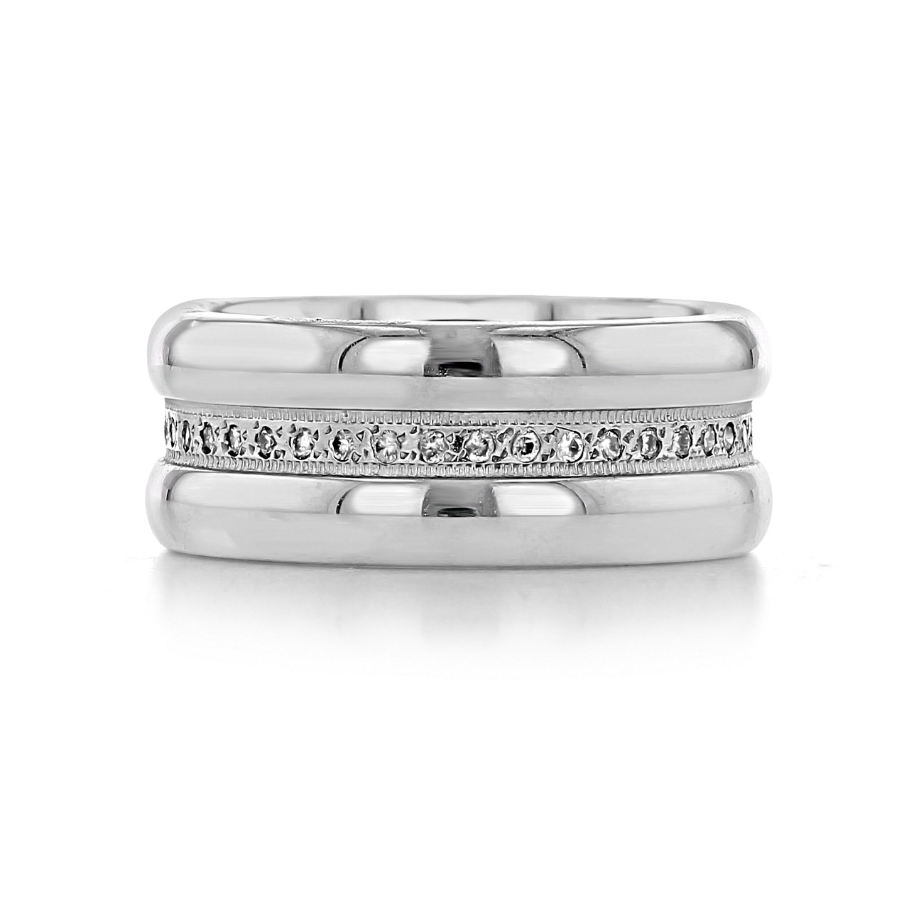 It is a graphic of Pavé Set Wide Diamond Wedding Band (LB42)