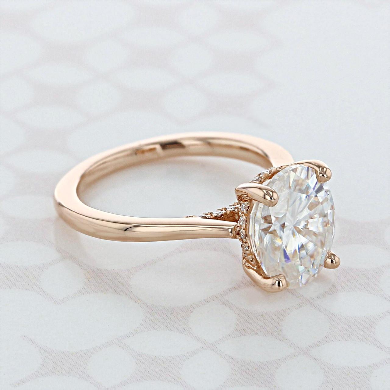 1.50 Carat Oval Cut Moissanite Hidden Halo Engagement Ring 14k Rose Gold Over