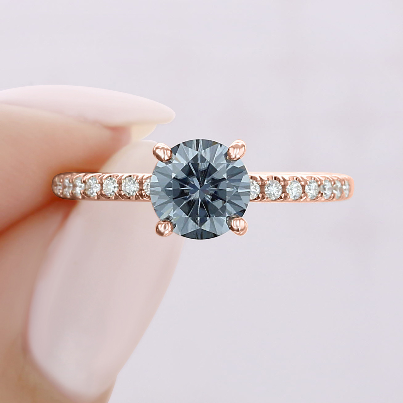 Grey Moissanite Engagement Ring Cr19r Icing On The Ring