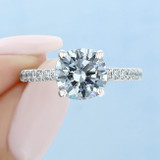 1.50 ct Round Micro-Prong White Gold Engagement Ring (CR160C)