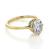 1.50 Ct. Oval Shape Moissanite Yellow Gold Solitaire Engagement Ring (SO70-MY)