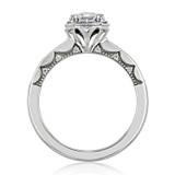 1.00 Ct. Emerald Cut Moissanite Tacori Halo Coastal Crescent Engagement Ring (P103EC7X5FW-M)
