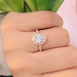 1 ct Round Unique Halo Rose Gold Engagement Ring (CR25)