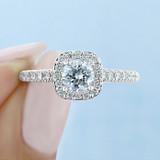 .50 ct Round Gabriel Halo White Gold Engagement Ring (GC03S)