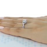 1 ct Round Pavé Split-Body White Gold Engagement Ring (FG439)