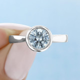 1 ct Round Bezel Solitaire White Gold Engagement Ring (SO49)