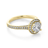 1 ct Round Gabriel Halo Pavé Yellow Gold Engagement Ring (GC46)