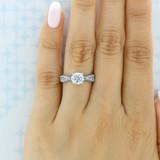White Gold Tacori Classic Crescent Moissanite Engagement Ring (2578RD65-M)
