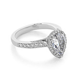 2.10 Ct. Pear Shape Moissanite Platinum Tacori Dantela Engagement Ring (2620PS10X7P-M)
