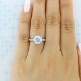 2.20 Ct. Round Moissanite Platinum Tacori Dantela Engagement Ring (2620RDLGP-M)