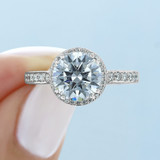 2.20 Ct. Round Moissanite Platinum Tacori Dantela Engagement Ring (2639RDP85-M)