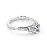 1.00 Ct. Round Moissanite Platinum Tacori Three-Stone Simply Engagement Ring (2656RD65-M)