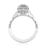 1.00 Ct. Round Moissanite Tacori Sculpted Crescent Halo Engagement Ring (39-2CU65-M)