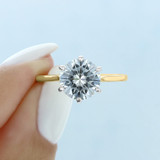 2.50 Ct. Round Moissanite 6-Prong Yellow Gold Solitaire Engagement Ring (EV117T-M)
