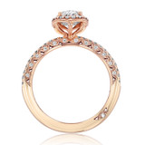 1.50 Ct. Oval Shape Moissanite Rose Gold Tacori Halo Petite Crescent Engagement Ring (HT257215OV8X6-M)