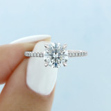 1.50 Ct. Round Moissanite Hidden Halo Micro-Prong Engagement Ring (CR09-M)