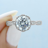2.20 Ct. Round Moissanite Platinum Tacori RoyalT Engagement Ring (HT2604RD85-M)