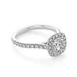 1.50 Ct. Cushion Cut Moissanite Platinum Halo Micro-Prong Engagement Ring (CR14-M)