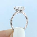 1.50 Ct. Emerald Cut Moissanite Micro Prong Engagement Ring (CR160EC-M)