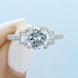 2.20 Ct. Round Platinum Tacori RoyalT Moissanite Engagement Ring (HT2655RD85-M)