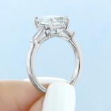 3.00Ct. Emerald Cut Moissanite Baguette Three Stone Ring (TR94EC-M)