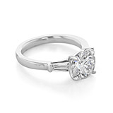 2.00 Ct. Round Moissanite Baguette Three-Stone Engagement Ring (TR94-M)