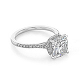 3 ct Cushion Hidden Halo White Gold Engagement Ring (CR09CU)