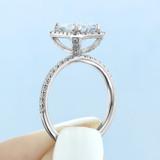2.50 Ct. Emerald Cut Moissanite Halo Engagement Ring (CR16EC-M)