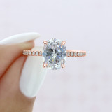 2.00 Ct. Oval Shaped Moissanite Rose Gold Micro-Prong Engagement Ring (EV160OV-M)