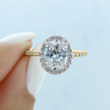 2 ct Oval Two-Toned Halo Yellow Gold Engagement Ring (CR16OV)