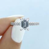 1.50 ct Emerald Cut Hidden Halo Platinum Engagement Ring (CR19EC-PL)