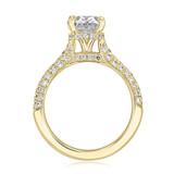 2 ct Oval Hidden Halo Triple Pavé Yellow Gold Engagement Ring (EV30OV-YG)